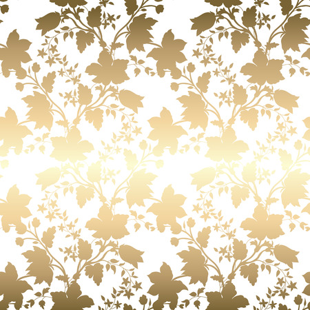 Vector vintage gold card with seamless damask pattern  EPS 10 Vettoriali