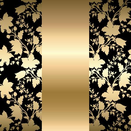 Vector tarjeta de oro de la vendimia con patrón floral EPS 10 Foto de archivo - 45646277