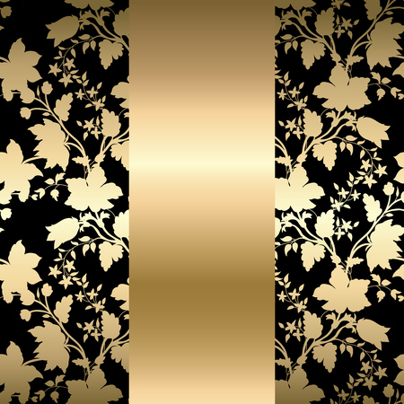 Vector vintage gold card with seamless floral pattern  EPS 10