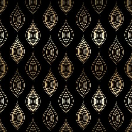 black damask: Vector vintage gold card with seamless damask pattern  EPS 10 Illustration