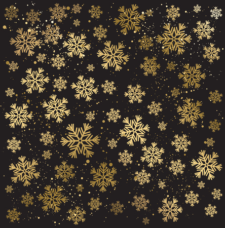 wallpaper: Gold winter abstract background. Christmas background with snowflakes. Vector.