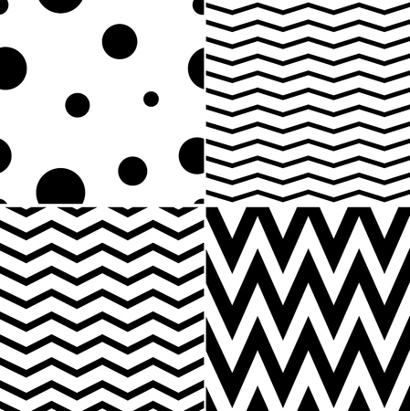 ジグザグと水玉のパターン。古典的なシームレス パターン。ベクター デザイン