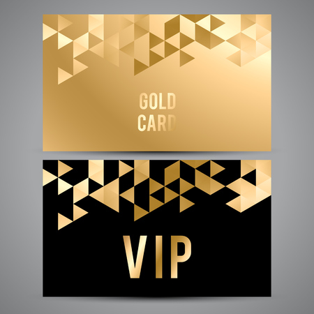 Vector VIP premium invitation cards. Black and golden design. Triangle decorative patterns. Stock Illustratie