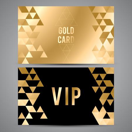 Vector VIP premium invitation cards. Black and golden design. Triangle decorative patterns.  イラスト・ベクター素材
