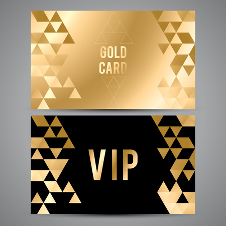 Vector VIP premium invitation cards. Black and golden design. Triangle decorative patterns. Ilustração