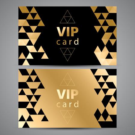 Tarjetas de invitación prima vectorial VIP. Diseño negro y dorado. Triángulo patrones decorativos.