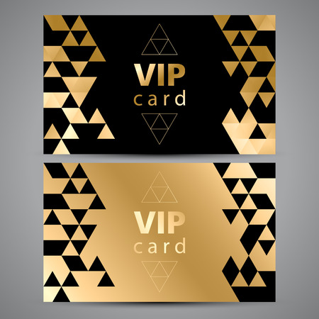 Vector VIP premie uitnodigingskaarten. Zwart en gouden ontwerp. Driehoek decoratieve patronen.