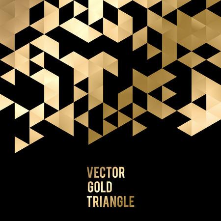 negro: Fondo de plantilla abstracto con formas de triángulo de oro. ilustración vectorial EPS10 Vectores
