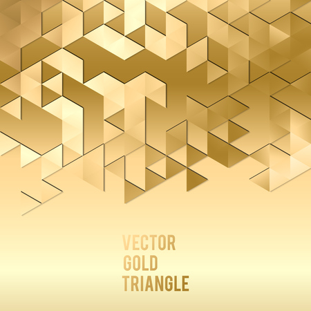 Abstract template background with gold triangle shapes. Vector illustration EPS10