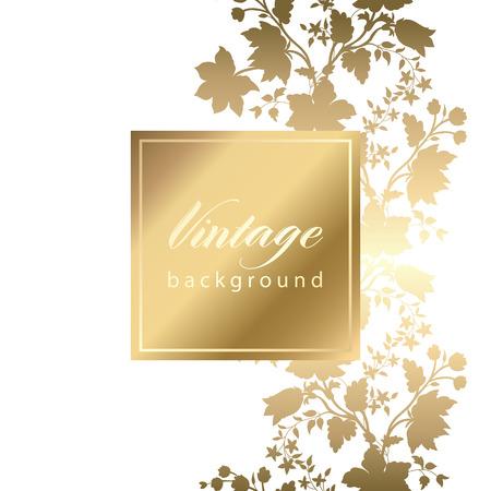 tarjeta de invitacion: Vector tarjeta de invitación cosecha blanco con estampado de flores de oro EPS 10