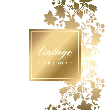 Vector vintage white invitation  card with gold floral pattern  EPS 10 Иллюстрация