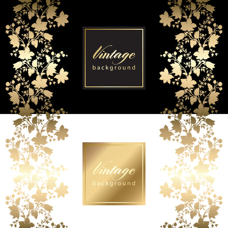 vip: Vector vintage card with gold floral pattern  EPS 10