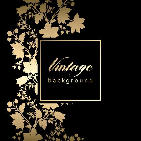 ornate frame: Vector vintage black invitation  card with gold floral pattern  EPS 10 Illustration