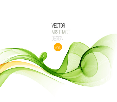 Vector Abstract  Green curved lines background. Template brochure design.