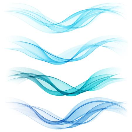 azul: Conjunto de ondas azules abstractas. Ilustración vectorial