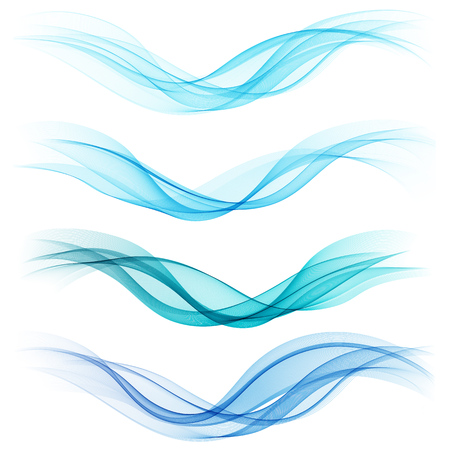 Set of abstract blue waves. Vector illustration