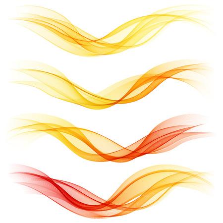 Set of abstract orange waves. Vector illustration   イラスト・ベクター素材
