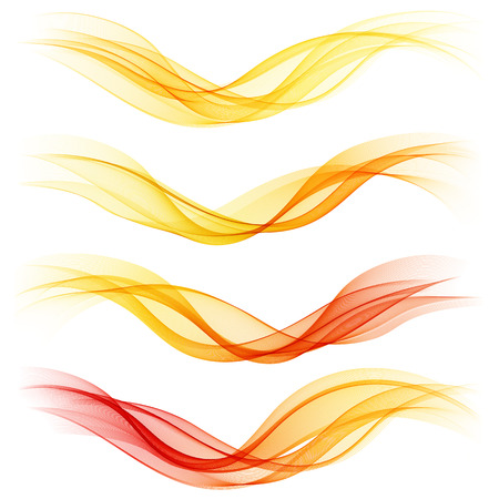 Set of abstract orange waves. Vector illustration  Ilustração