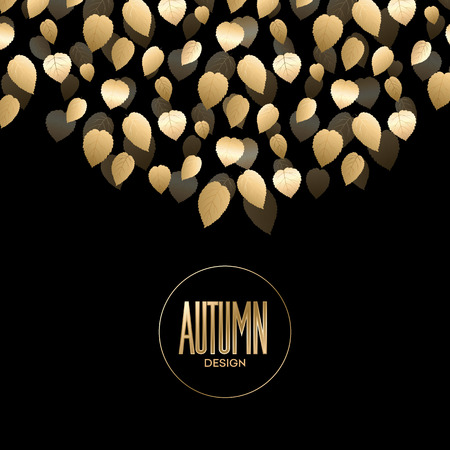 Fall banner with Gold leaves. Vector illustration 版權商用圖片 - 46343806