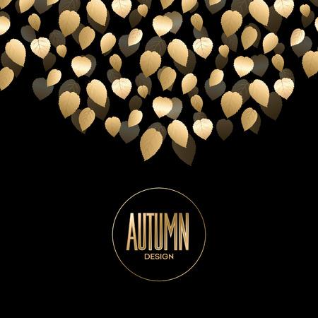 Herfst banner met gouden bladeren. Vector illustratie Stock Illustratie