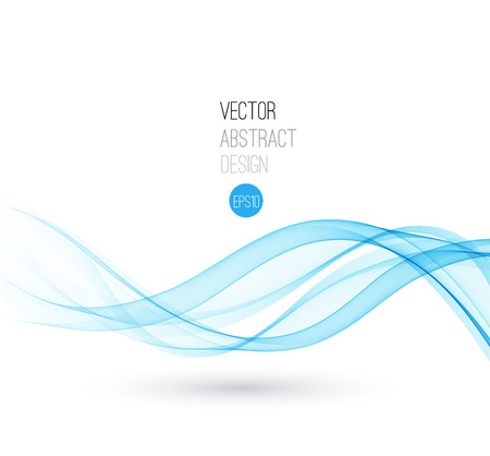 Beautiful Blue Smoke. Waved Background, Vector Illustration