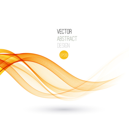 Beautiful Orange lines. Waved Background. Vector Illustration