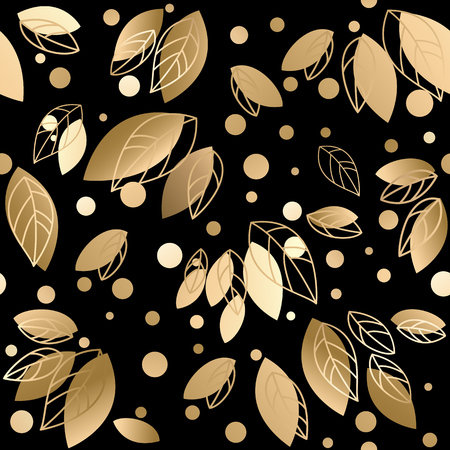 seamless background pattern: Fall banner with Gold leaves. Vector illustration