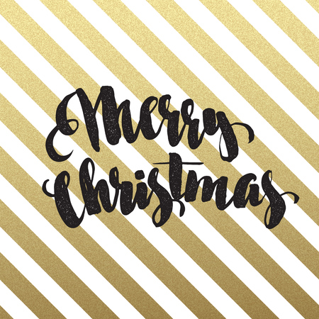 golden texture: Merry Christmas lettering design on geometric background. Vector illustration