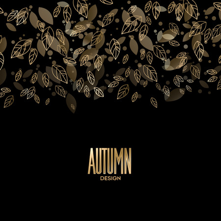 golden background: Fall banner with Gold leaves. Vector illustration EPS 10