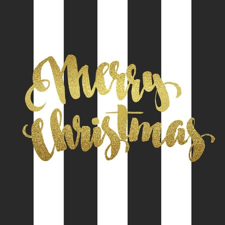 letters gold: Merry Christmas gold glittering lettering design. Vector illustration Illustration