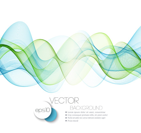 Abstract blue and green waves. Vector illustration EPS 10 Фото со стока - 46662685