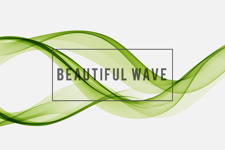 green lines: Beautiful Green Smoke. Waved Background, Vector Illustration Illustration