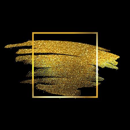 Gold Texture Paint Stain Illustration. Hand drawn brush stroke vector design element.  イラスト・ベクター素材