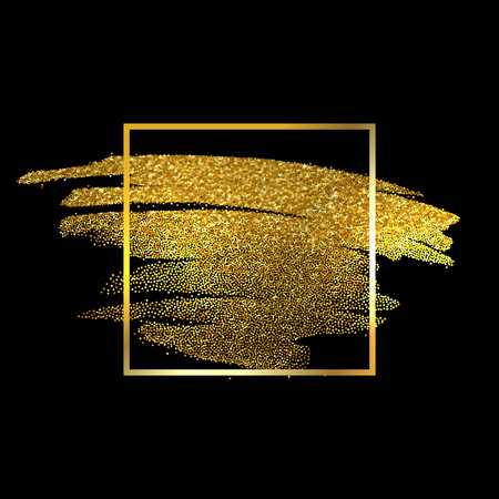 Gold Texture Paint Stain Illustration. Hand drawn brush stroke vector design element. Vectores