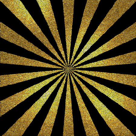 Vector  black and white halftone background. Stipple effect . Gold glitter Sun burst Ilustrace