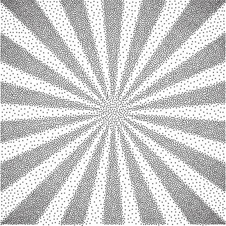 paper art: Vector  black and white halftone background. Stipple effect . Sun burst Illustration