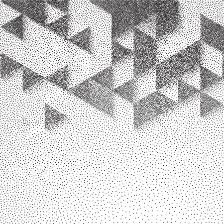 Vector abstract geometric background with cubes. Retro style design for poster or cover. Stipple effect