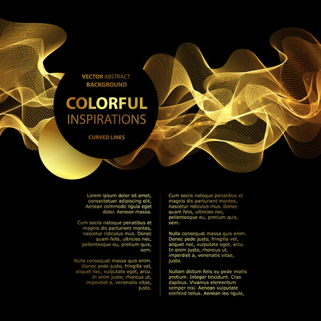 black: Abstract gold luxury wave layout background. Vector illustration Illustration