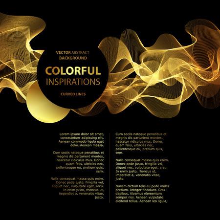 preto: Luxo ouro fundo abstrato onda de layout. Ilustra Ilustração