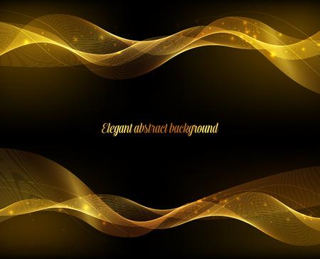 oro: Resumen de lujo de oro fondo de diseño de onda. Ilustración vectorial