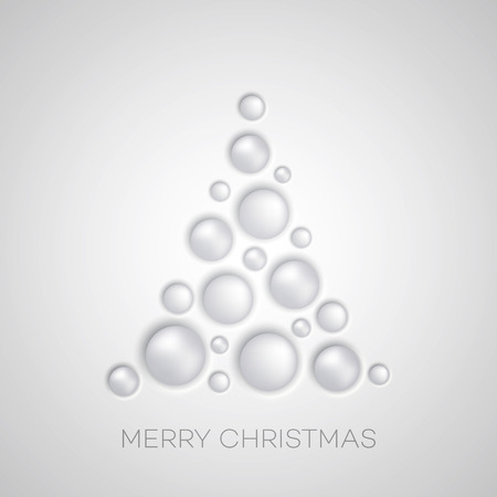 plastic christmas tree: Vector Simple Christmas tree with white balls