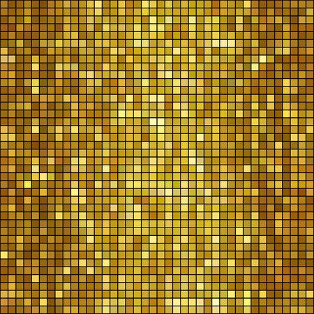Vector illustration  golden mosaic background. Square shape