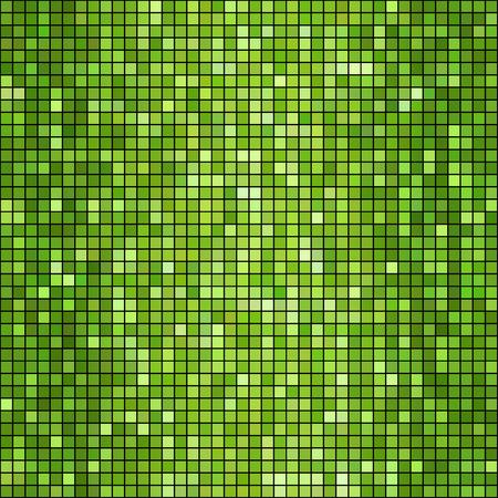 discoball: Vector illustration  green mosaic background. Square shape Illustration