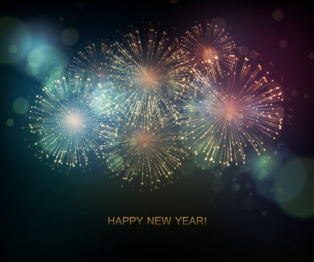 new year greetings: Vector Holiday Fireworks Background. Happy New Year 2016