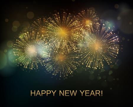 nowy rok: Fajerwerki tło wakacje wektor. Szczęśliwego Nowego Roku 2016