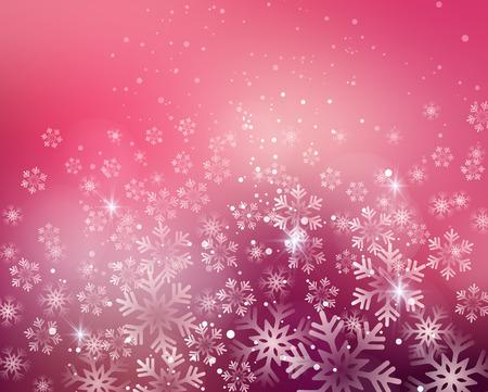 Vector illustratie. Abstracte Kerst sneeuwvlokken achtergrond. Roze kleur
