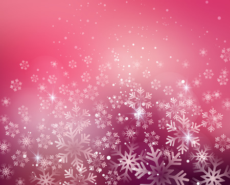 Vector illustration. Abstract Christmas snowflakes background. Pink color