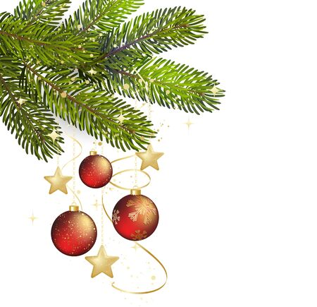 pine decoration: Winter background with isolated pine branch and baubles. Christmas  tree decoration. Vector illustration.