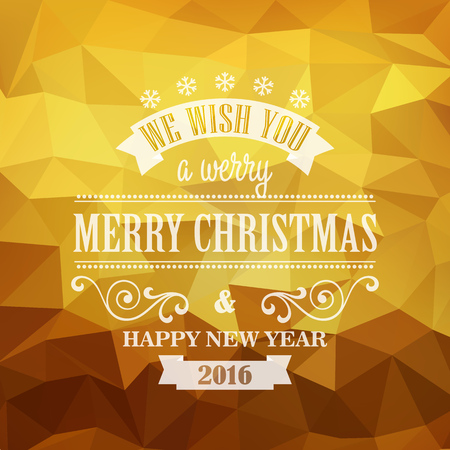 happy new year text: Typographic Retro Christmas Design on the golden polygonal background