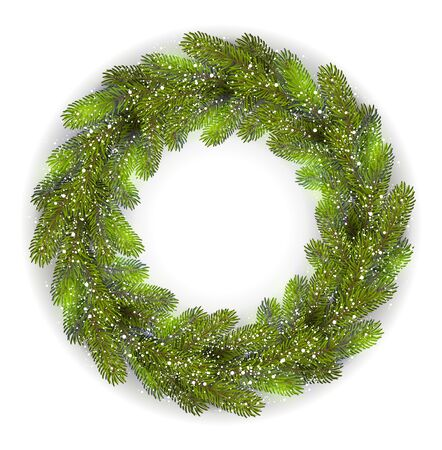 fir tree: Vector Detailed Christmas Wreath. Fir tree branch